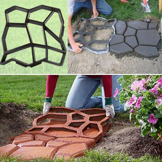 Пластиковые путь чайник формы 43.5*43.5 см вручную мощения цемент кирпич каменная дорога, конкретные формы DIY пластиковых форм для сад