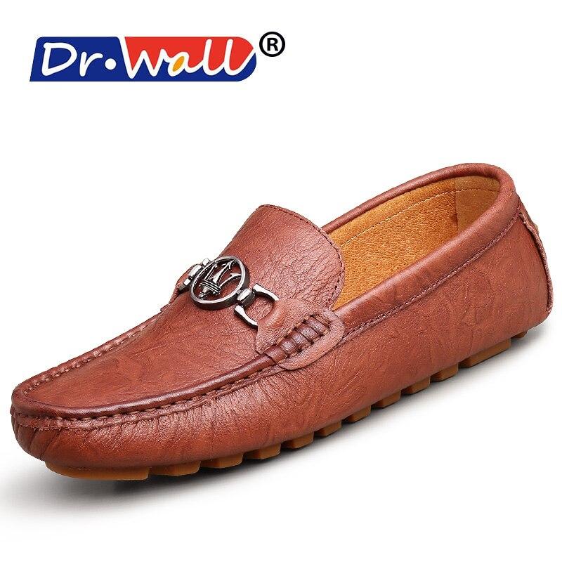 2017 Dr. стены Большой размер 38-44 Высокое качество Мужская обувь из натуральной кожи Мягкие Мокасины Лоферы модные брендовые Туфли без каблуко... ...