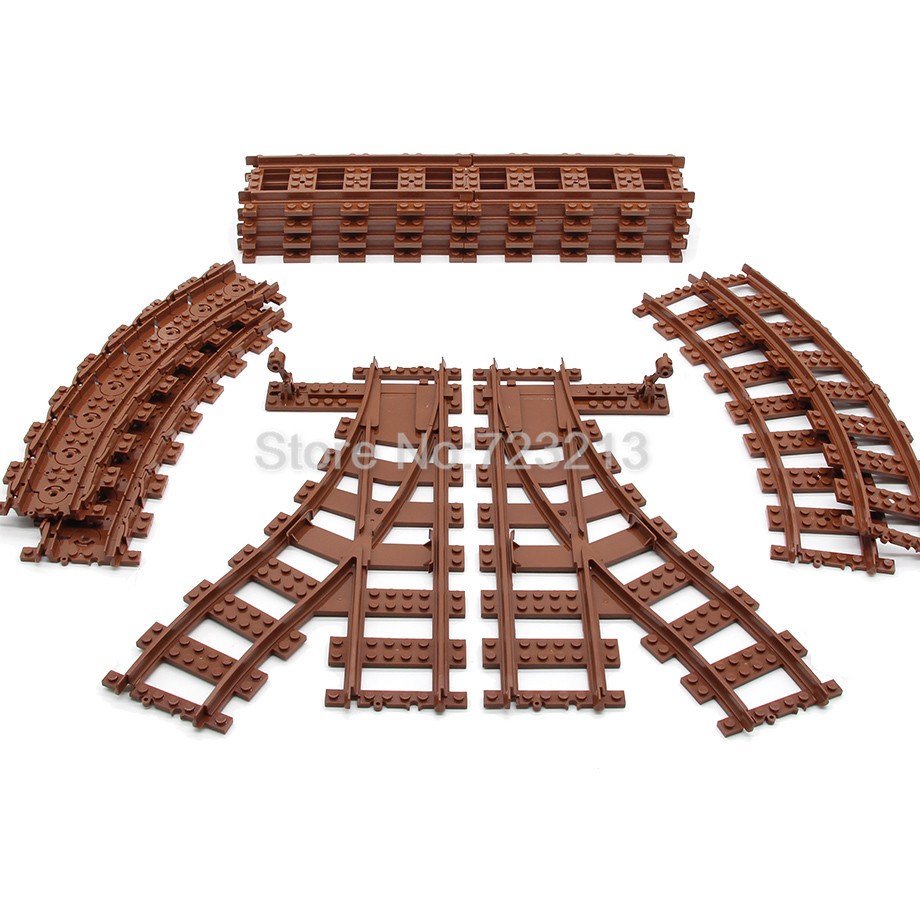 Brown Flexible Curved Straight forked Rail Train Tracks Soft Railway Building Block Sets Models Educational Toys for Children