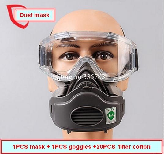 Alta calidad de polvo del respirador de máscara A Prueba de Viento Gafas + máscara de polvo + 20 filtro de algodón KN95 anti contaminación anti-polvo respirador