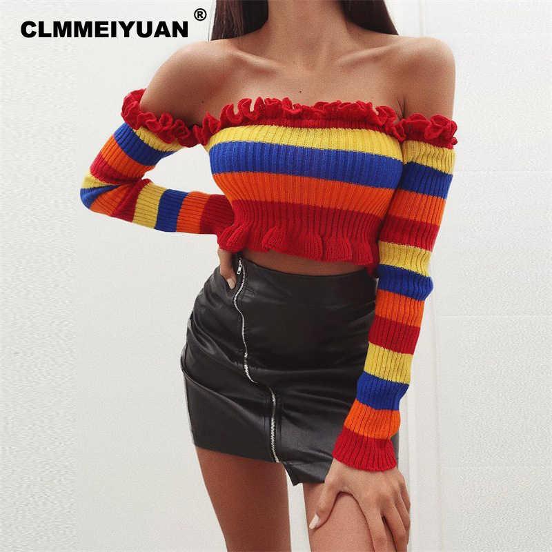 Ruffles Off Shoulder Knitted Crop Tops Women Streetwear Chic Rainbow  Striped Long Sleeve T Shirts Femme a48310539