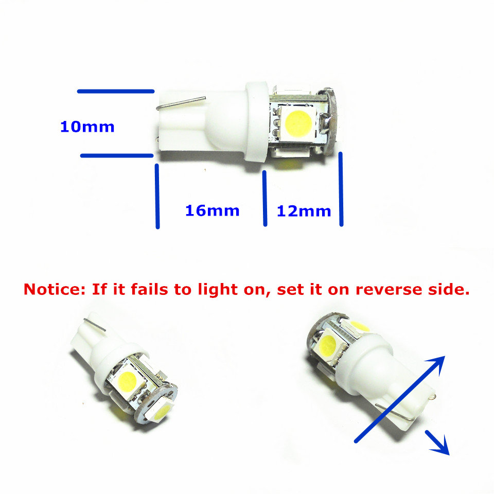 24V LED Car Bulb Lamp 1Pair T10 (5 * 5050 SMD Lamp) W5W W2.1X9.5d - Faróis do carro - Foto 2