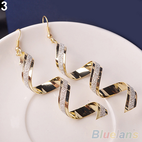Bluelans Women Retro Bead Twist Spiral Eardrops Long Dangle Hook Earrings Jewelly ...