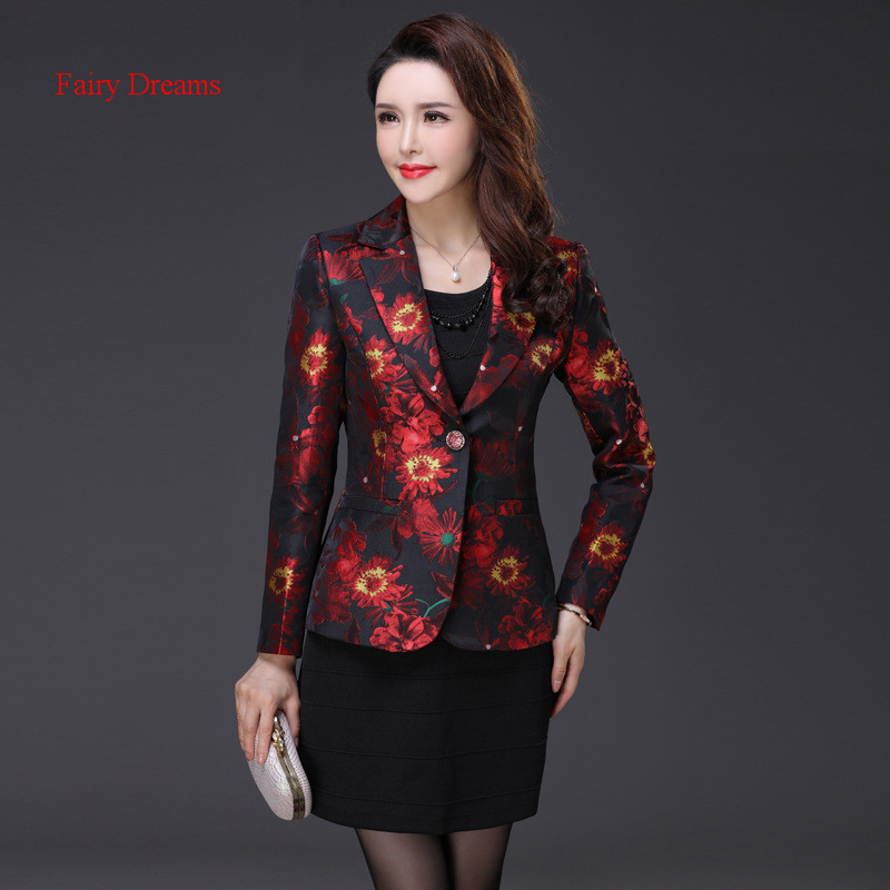 Fairy Dreams Women Blazers Red Golden Coat Plus Size Jacket 2017 New Style Suits The Feminine Spring Autumn Jacquard Clothes