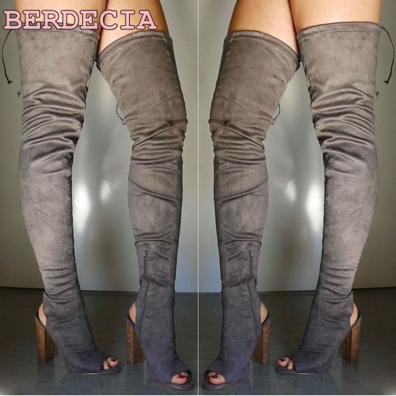 High quality over the knee high women boots back lace up peep toe shoes chunky heel exposed heel thigh high boots fold shoes top selling sexy black thigh high boots high quality lace up reticular open toe women tassel boots high heel sandal boots
