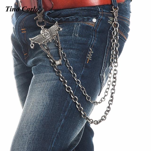 Luz Gunmetal Cráneo Alas Biker Trucker Jean Cartera de la Cadena Clave 2 Strands Punky Esqueleto Hombres Hip Hop Cintura Clave de La Cadena KB71