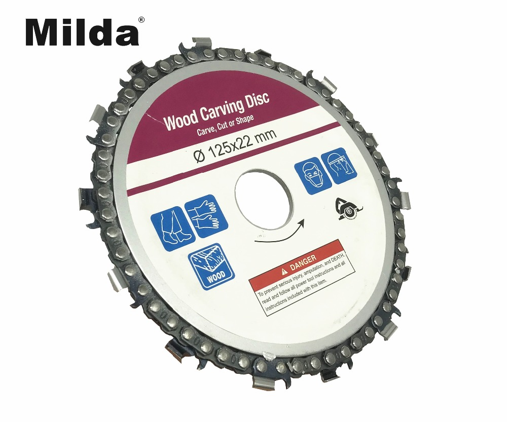 Milda 5 Inch Grinder Chain Disc 22mm Arbor 14 Teeth Chain Saw Wood Carving Disc For 125mm Angle Grinder Power Tool Accessories