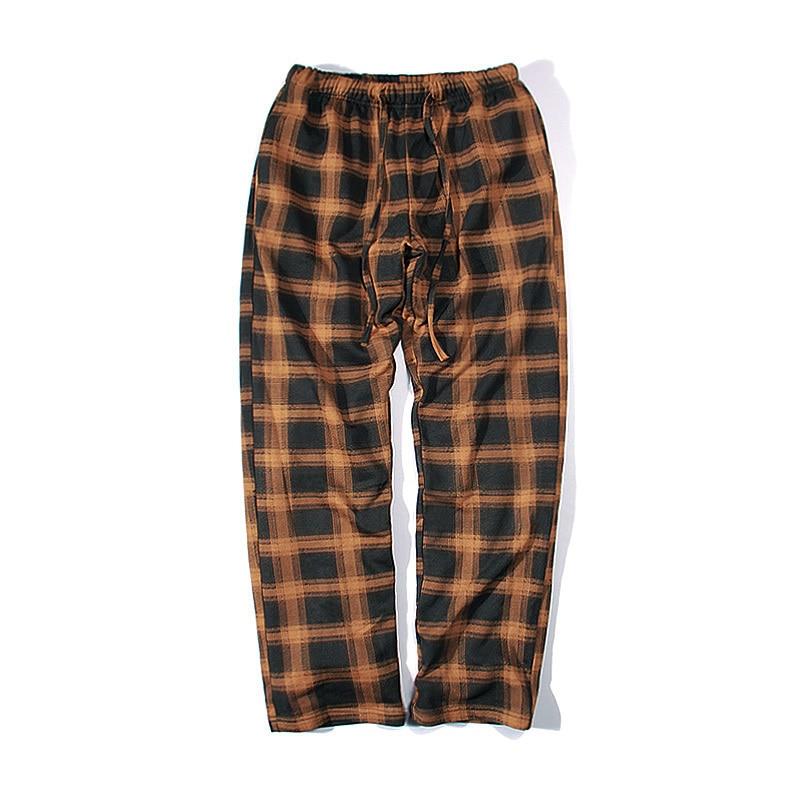 18 Korea BF wind retro plaid couple men loose straight casual printing fashion learning pants tide male sweatpants Free shipping