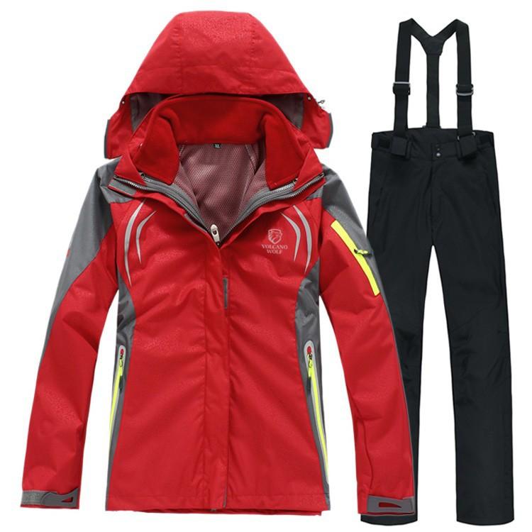 женщины в два штук спорт костюм, женское на открытом воздухе женская зима лыжный снег костюм, толстовка куртка, ремень брюки ветер и вода - доказательство