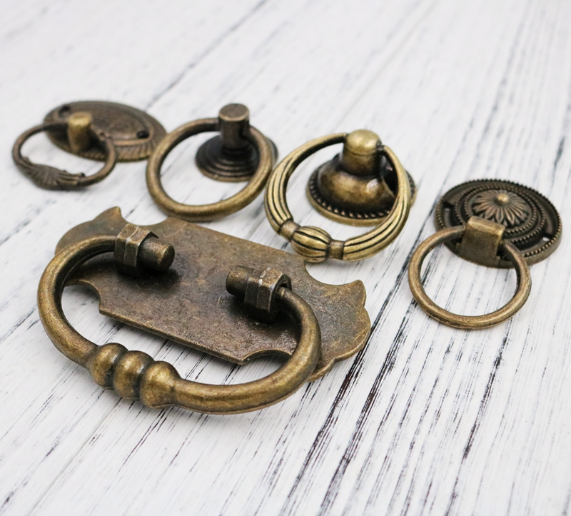 2Pcs Antique Brass Cabinet Dresser Cupboard Drop Ring Pull Handle DIY Knob