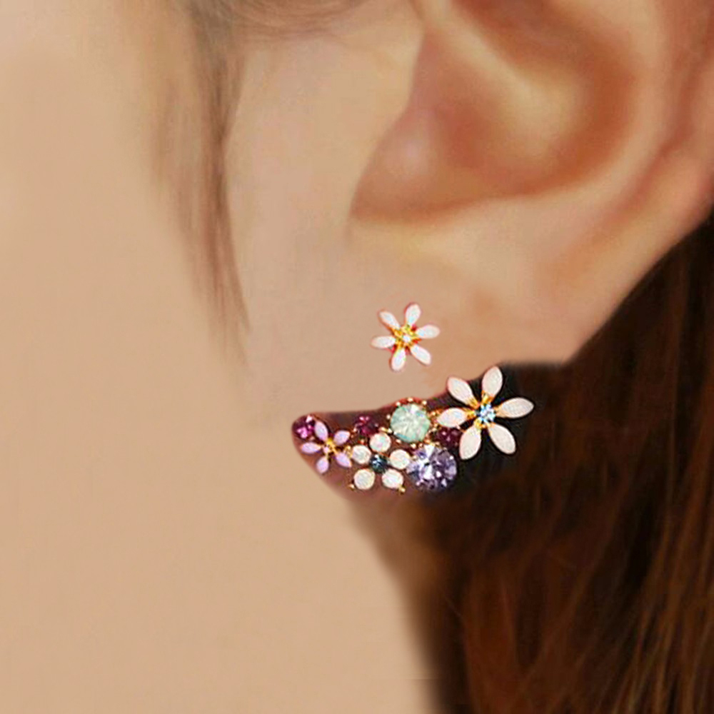 2018 Korean Fashion Imitation Pearl Earrings Small Daisy Flowers Hanging After Senior Flower earrings Female Jewelry Wholesale(China)