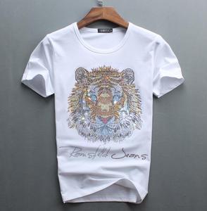 Image 5 - Роскошный дизайн бриллиантов, 100% хлопок, мужские футболки, дизайнерская мужская футболка