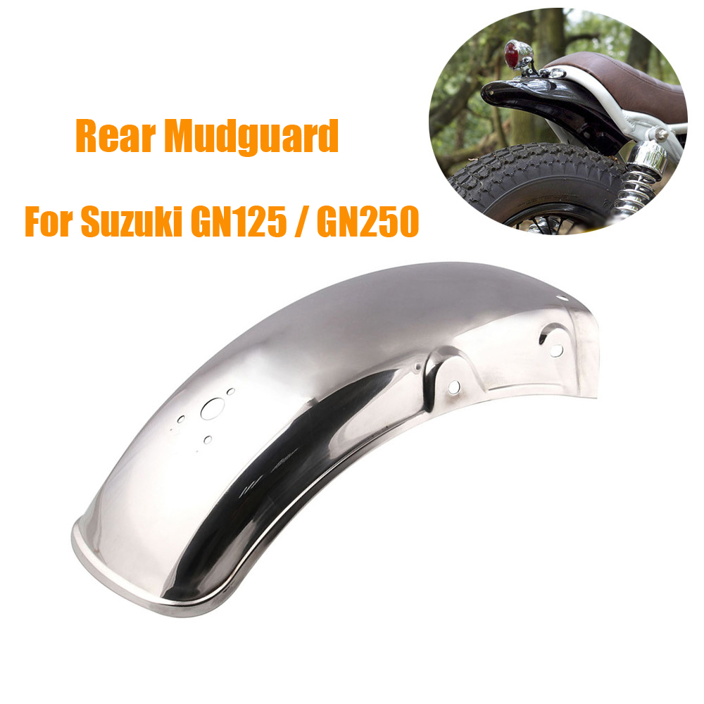 Stainless Steel Motorcycle Rear Fender Flares Mud Flaps Mudguard Splash Guard rear mudguard for Suzuki GN125/GN250|  - title=