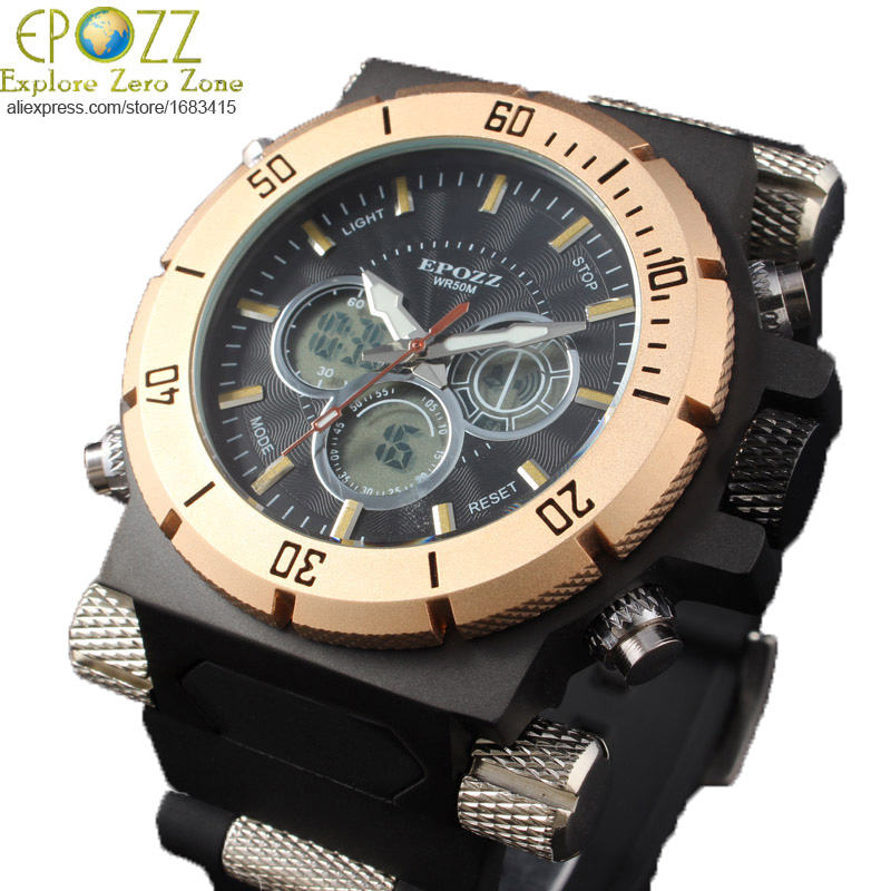 aliexpress com buy epozz cool big face watches military large punk style 194 g weight big mens watches top brand luxury large face clock analog