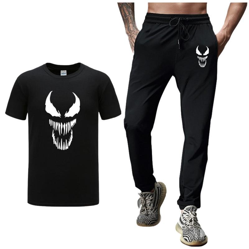 EU Size Venom Pants Joggers Casual Pants+T Shirts Set 2 Piece Kit Fitness Men Sportswear Tracksuit Skinny Sweatpants Trousers