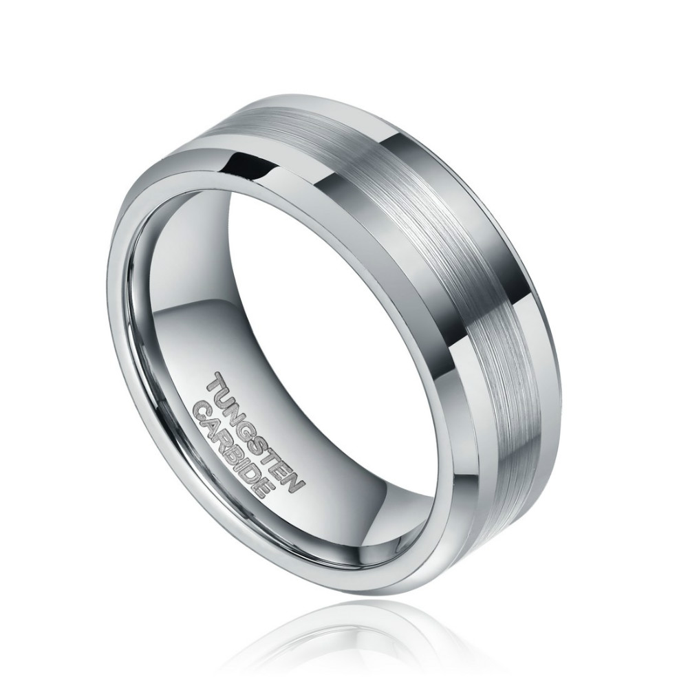 8mm Mens Brushed Silver Color Tungsten Carbide Ring Wedding Bands - Fashion Jewelry - Photo 2
