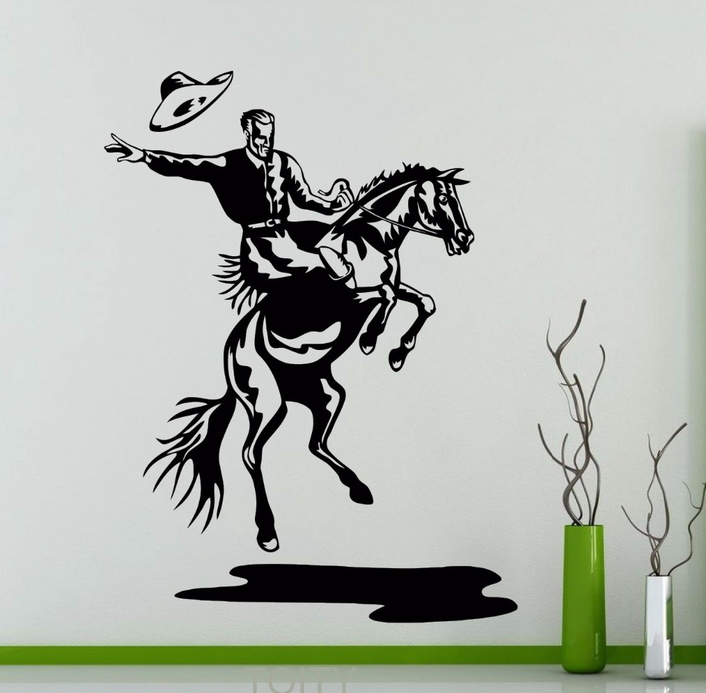 Buy rodeo wall decal cowboy retro poster for Cowboy wall mural