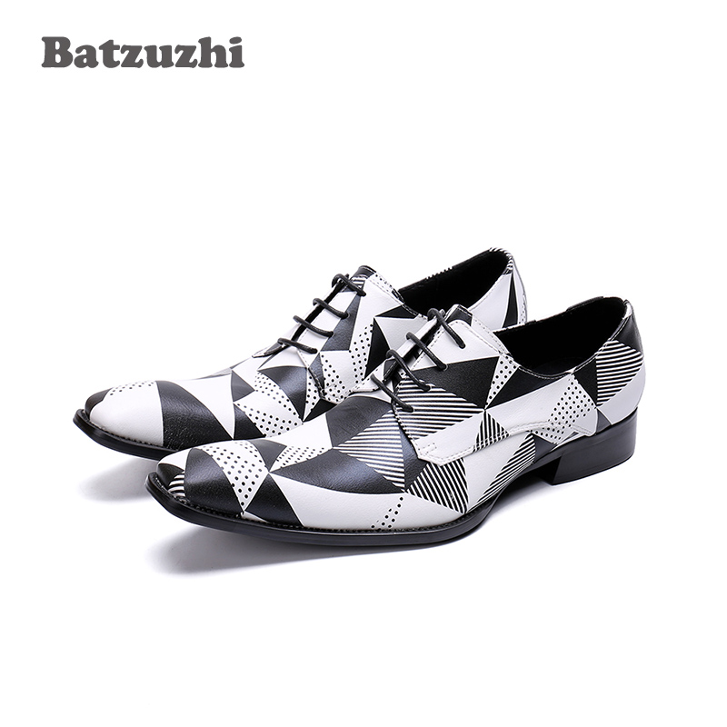 Batzuzhi Brand Men Shoes Lace-up Genuine Leather Dress Shoes for Men Black White Business Shoes Men Wedding and Party ZapatosBatzuzhi Brand Men Shoes Lace-up Genuine Leather Dress Shoes for Men Black White Business Shoes Men Wedding and Party Zapatos