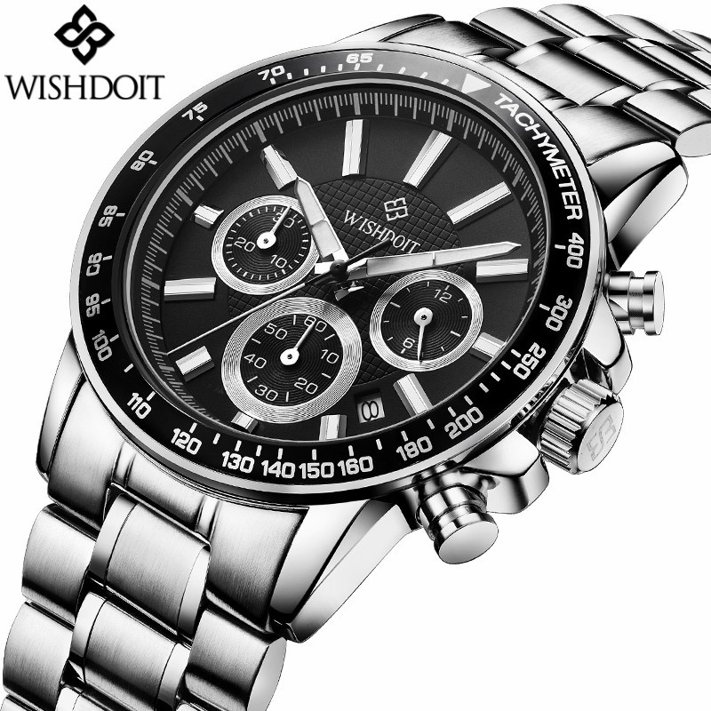WISHDOIT Fashion Famous Brand Luxury Quartz Watch Men Military Sport Stainless Steel Waterproof Male Watches Relogio Masculino weide fashion casual quartz watch men sport watches famous luxury brand stainless steel military army relogio masculino wh3305