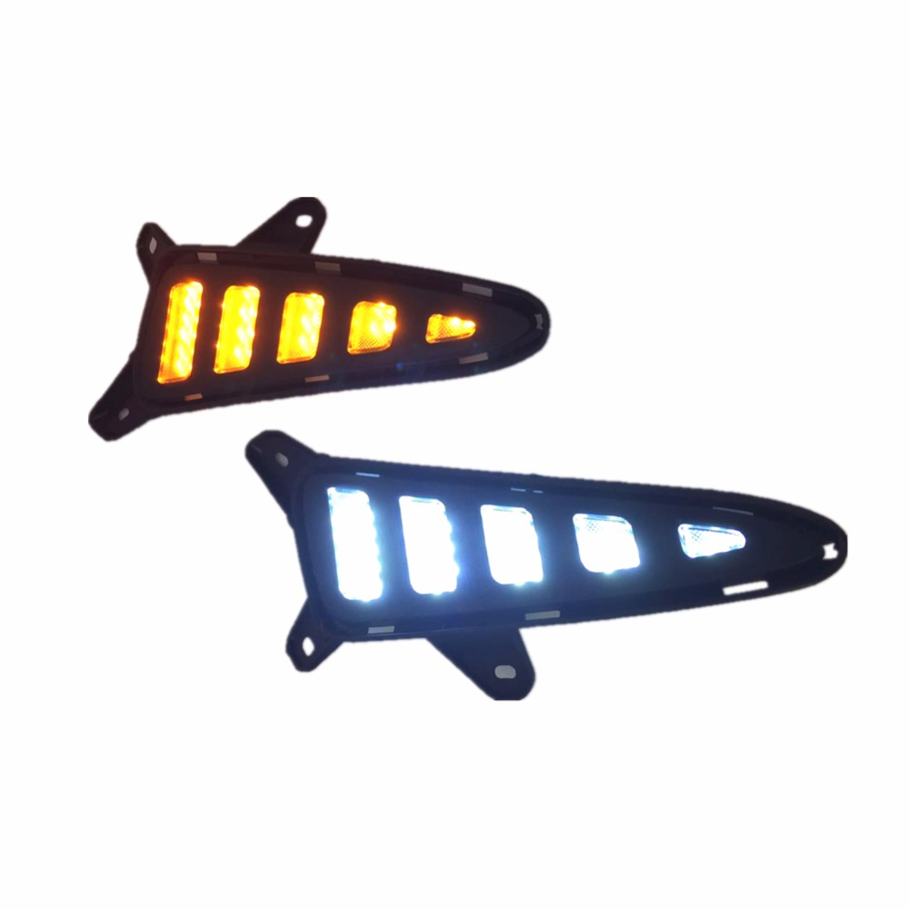 купить LED DRL Daytime Running Lights with Yellow Turning Signal lamp fog light for Toyota C-HR CHR 2016 2017 недорого
