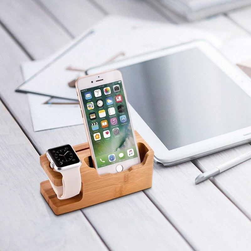 Le fond de chargement de téléphone portable Multi USB de Mindzo se trouve le support de chargement en bois de bambou de montre de chargeur en bois