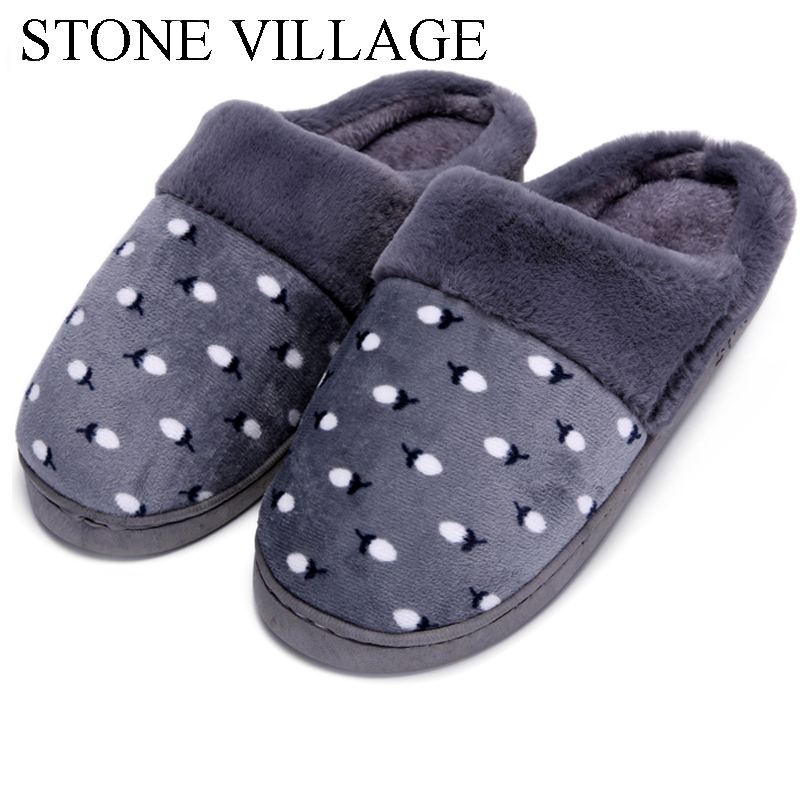 New Autumn & Winter Litchi Print Women Cotton Slippers Plush Warm Home Slippers Indoor Shoes Soft Bottom Women Slippers Men