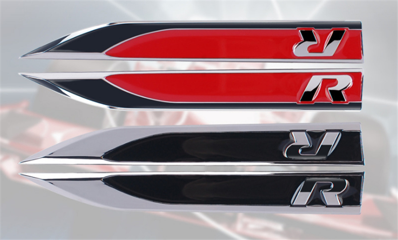 2 pcs Side Wing Fender Badge Emblem zinc alloy R Logo 3D Sticker for VW Golf 6 7 MK7 MK6 GTI Tiguan Polo CC Jetta R32 R36 R50