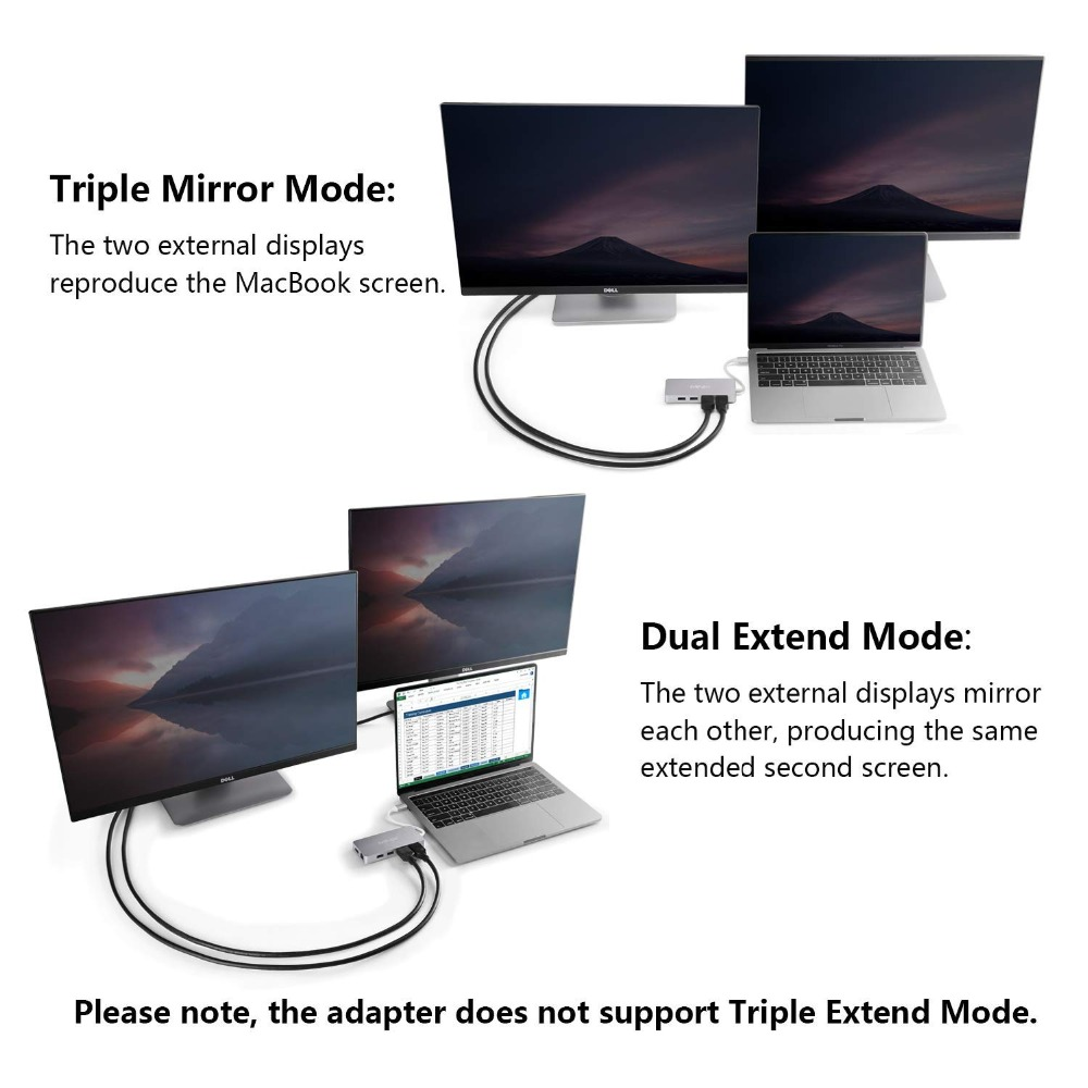 MINIX USB-C Hub adaptador multipuerto con salida Dual HDMI Adaptador 4 K 3 USB 3,0 Gigabit Ethernet USB-C carga para apple MacBook - 5