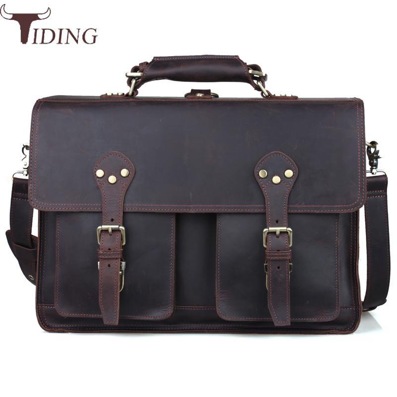 Designer 100 Cow Leather Travel Double Shoulder Bag 14 Inch Laptop Bag Men Business Briefcase Retro