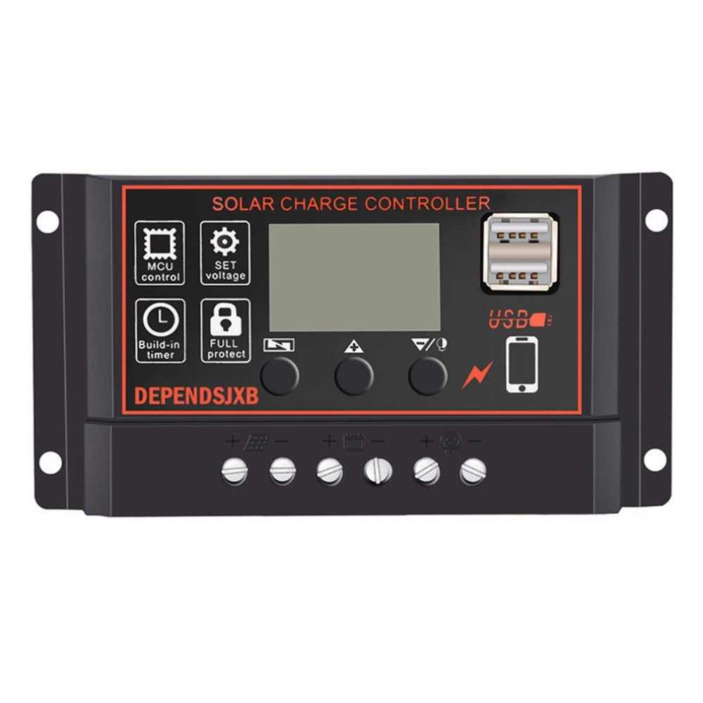Portable 30A Solar Panel Battery Regulator Solar Charger Controller with Digital LCD Screen Display 12/24V Auto USB