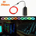 NEW 1.3mm 3Meters Electroluminescent EL Wire Neon glowing LED strip With DC-3V Flashing Driver For Wedding Party Decoration