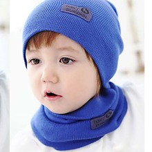 2016 2pcs Baby Boys Girls Hat Letter Print Knitted Beanie Baby Kids Hats Solid Leather Sign Wool Babies Beanie Hat with Scarf