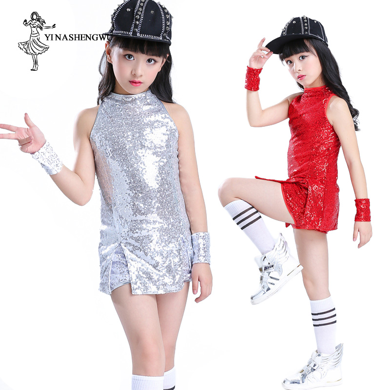 Jazz Dance Costumes For Girls Sequins Fashion Street Dance Clothing For Kids Hip Hop Modern Dance Clothes Children Stage Show