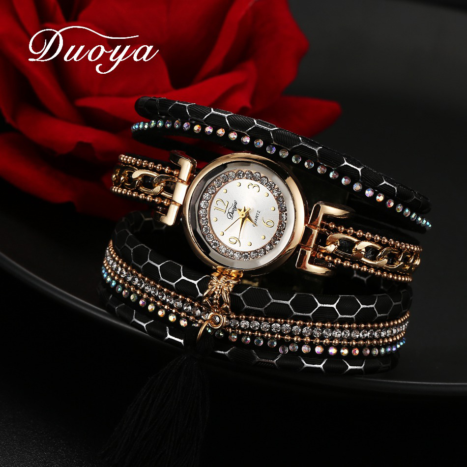 Duoya Women Brand Luxury Dress Watch Women Gold Chain Pendant Leather Quartz Wristwatch Ladies Classic Fashion Bracelet Watch old antique bronze doctor who theme quartz pendant pocket watch with chain necklace free shipping