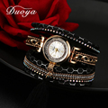 Duoya Women Brand Luxury Dress Watch Women Gold Chain Pendant Leather Quartz Wristwatch Ladies Classic Fashion Bracelet Watch