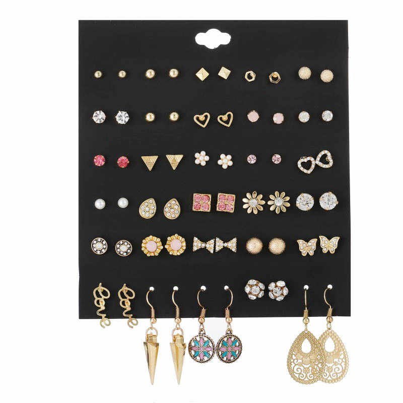 30 Pairs/lot Modern Women's Earrings 2019 Mixed Flower Round Geometric Crystal Stud Earring Sets For Girls Rhinestones Studs