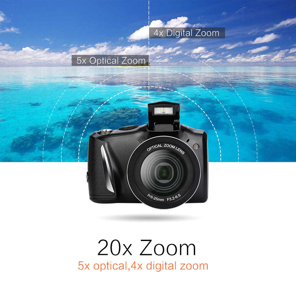 Andoer 24MP 720 p HD Digital Video Kamera Vlogging Camcorder Video Recorder 20X Zoom + 3,5 zoll IPS Display + flash Licht