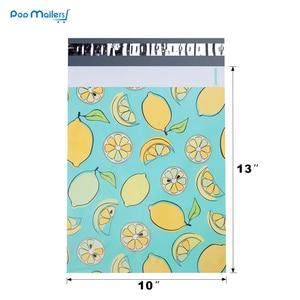 Image 3 - 100pcs 25.5x33cm 10x13 inch lemon fruit pattern Poly Mailers Self Seal Plastic Envelope Bags