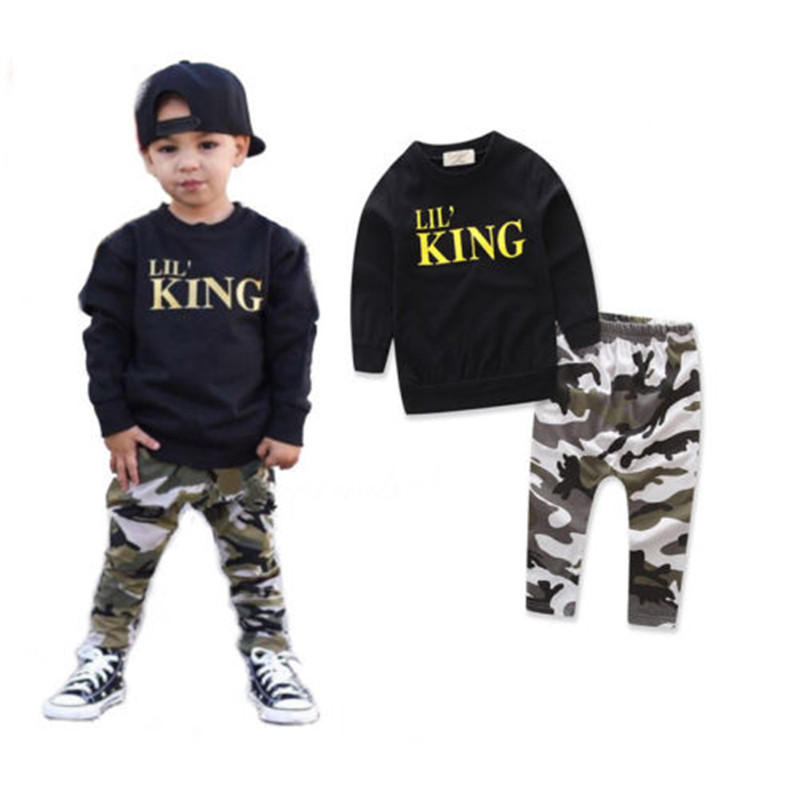 674c6821d22f6 US $6.18 18% OFF|King Letters Camouflage Kids Baby Boy Clothing Set Hoodies  Coat Tops+Harem Pants 2pcs Children Clothes Sweatsuits Outfits-in Clothing  ...