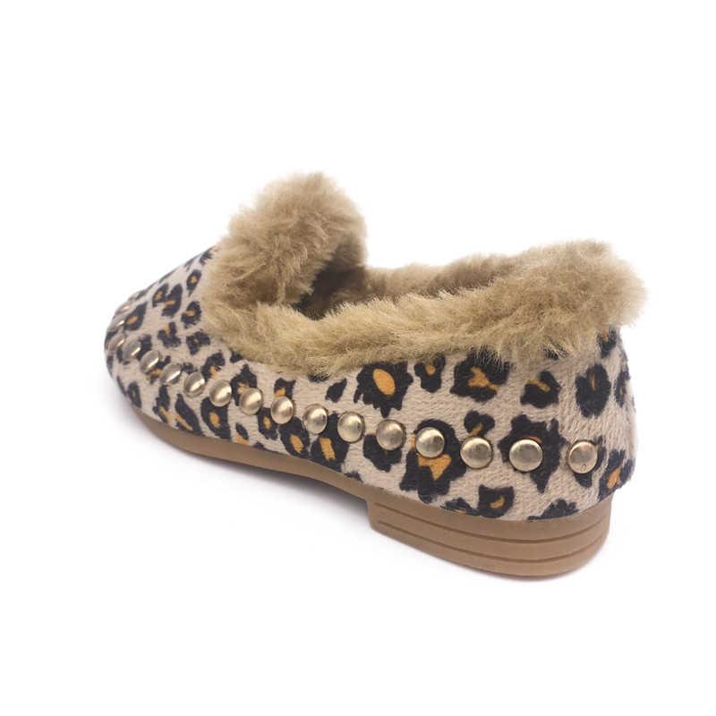 جديد الشتاء الأطفال الأحذية الفراء لفتاة الموضة كانليتي ليوبارد راقصة باليه مسطح بنات الأميرة أحذية للأطفال الأطفال واحد
