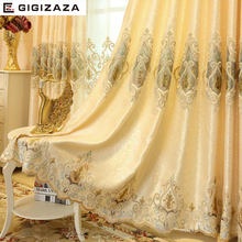 New GIGIZAZA embroidery imitation silk heavy fabric window curtain ivory color black out blinds for bedroom living light shading