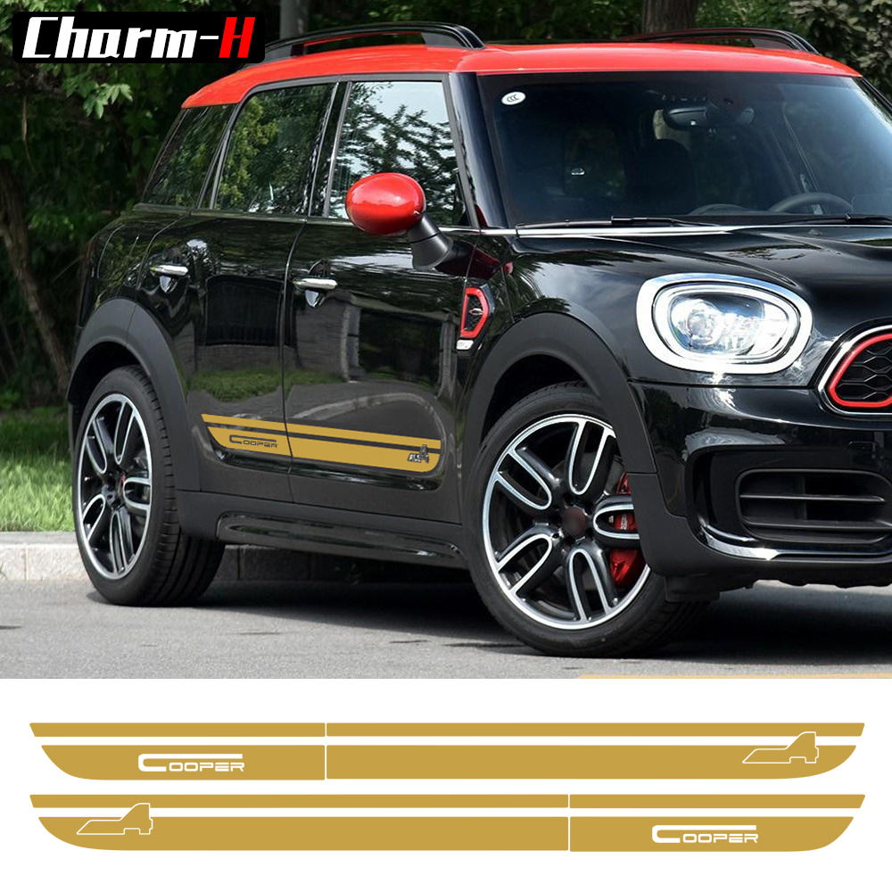 2 Pieces Side Stripes Door Skirt Sill Decal Stickers for Mini Second Generation Countryman F60 2017-Present Cooper All4 Graphics carking d1409124 uk flag style abs uv protected door handle cover for mini cooper countryman 4 pcs