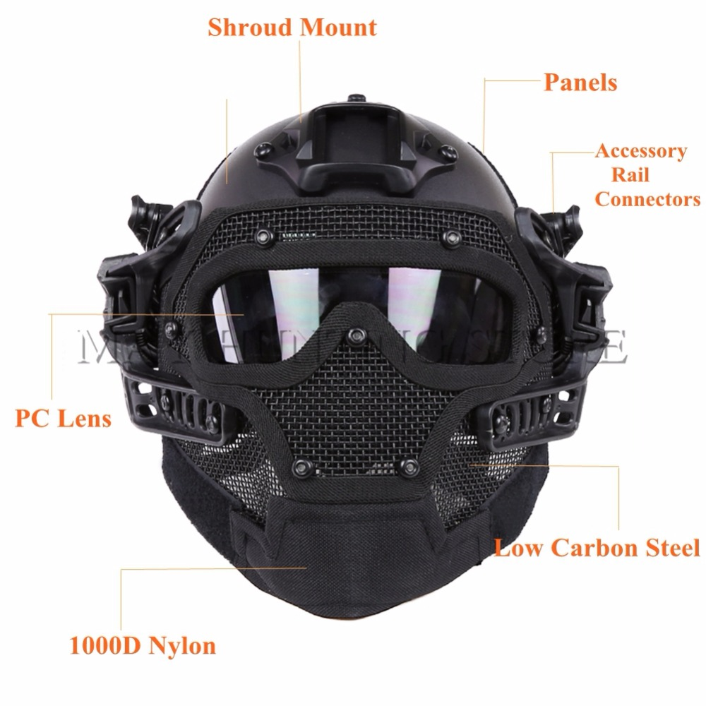 Outdoor CS Wargame Tactical Hunting Helmet Full Face Protective Mask Goggles G4 System Airsoft Paintball Camo FG Military Helmet tactical helmet g4 system set pj airsoft helmet overall protect glass face mask goggles for military paintball war game