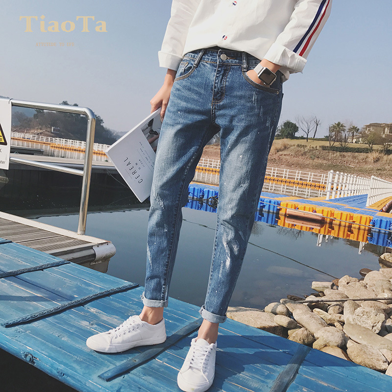 Top Quality 2019 Spring Ripped Hole Jeans Male Slim Fit Pancil Pants  Joker Teenagers Moustache Effect Ankle Length Trousers