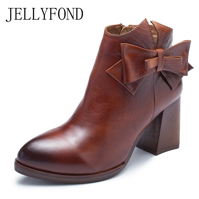 JELLYFOND Designer Autumn Winter Shoes Woman 2018 Handmade Genuine Leather Big Bow Platform High Heels Ankle Boots Chelsea Boots jellyfond designer autumn winter shoes woman 2018 handmade genuine leather big bow platform high heels ankle boots chelsea boots