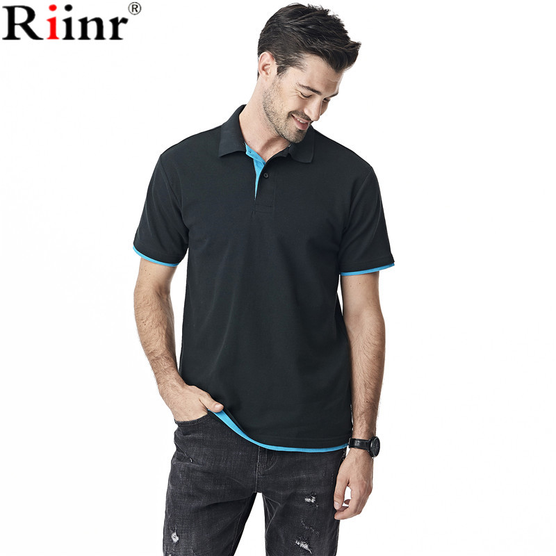 Riinr 2017 Brand New Arrival Men   Polo   Shirt High Quality Summer Fashion Casual Solid Color Cotton Blend Short Sleeve Camisa   Polo