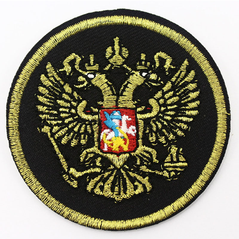 RUSSIA Flag Embroidered Iron-On Patch Military Emblem Black Border