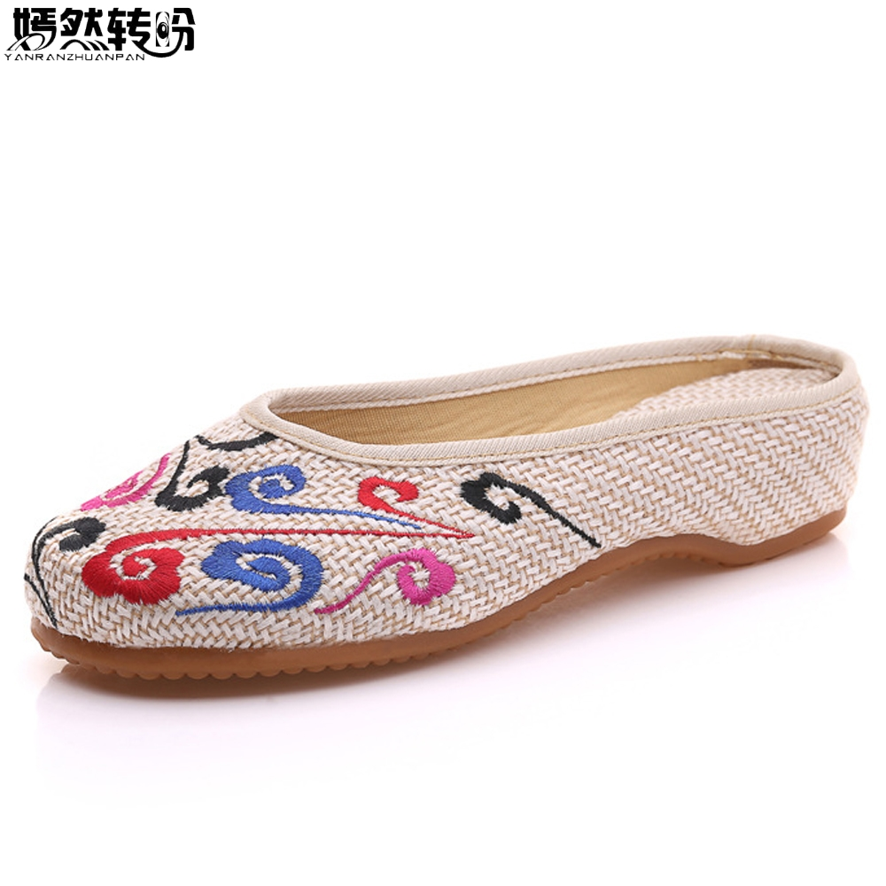 Women Slippers Summer Chinese Old Beijing Embroidery Home Slippers Casual Soft Slip On Shoes Woman Mujer Plus Size 41 plus size 41 fashion women shoes old elegant art party beijing mary jane flats with casual shoes chinese style embroidered clo