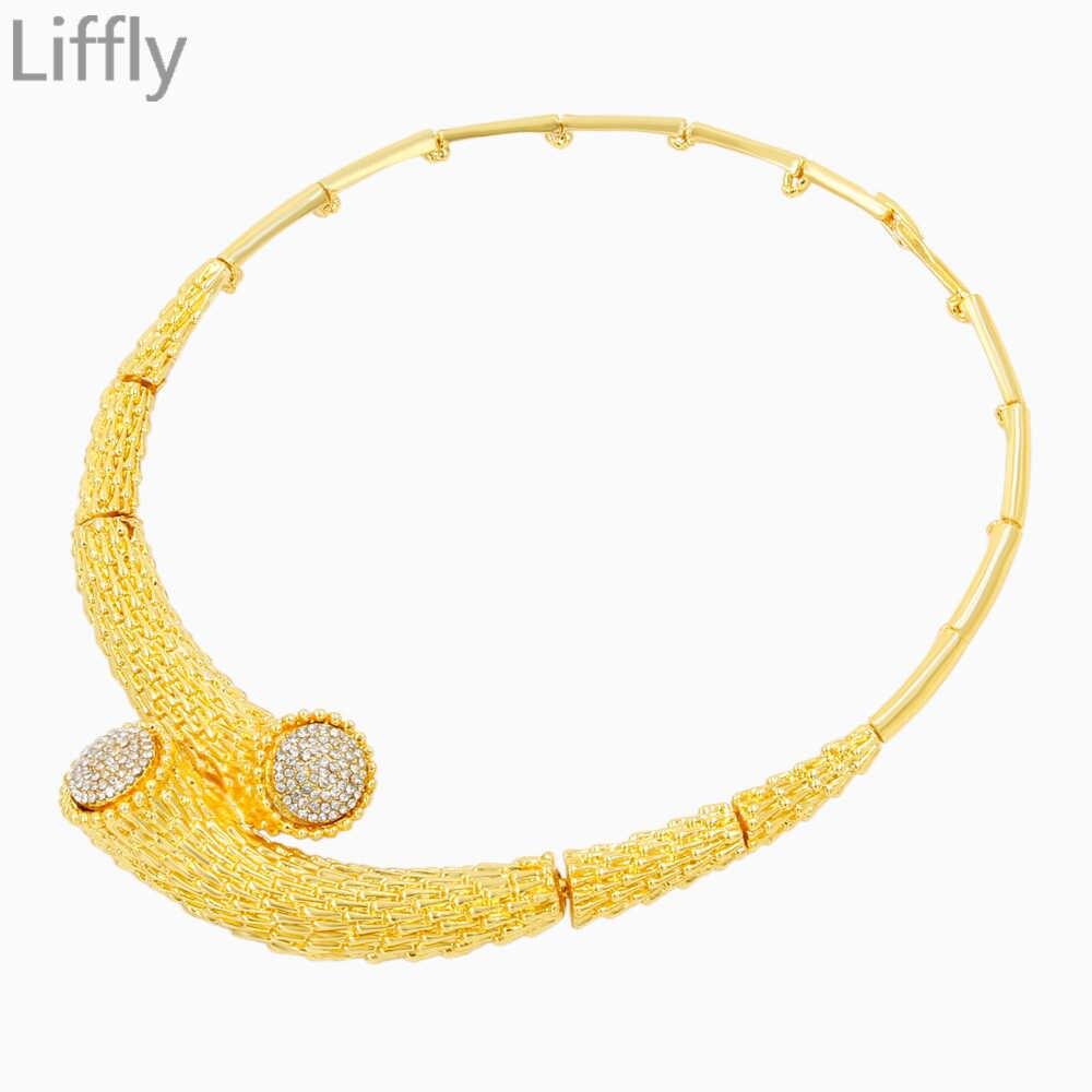 2019 heißer Verkauf Mode Dubai Gold Schmuck Sets Casual Stil Design Kristall Halskette Armband Ring Braut Jahrestag Geschenk