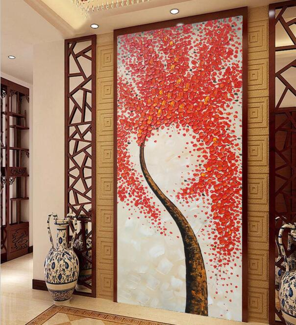 Custom 3D Photo Wallpaper Murals Modern Abstract Art HD Red Tree Wall Paper for Living Room Bedroom Entrance Door Home Decor sea world 3d wallpaper murals for living room bedroom photo print wallpapers 3 d wall paper papier modern wall coverings